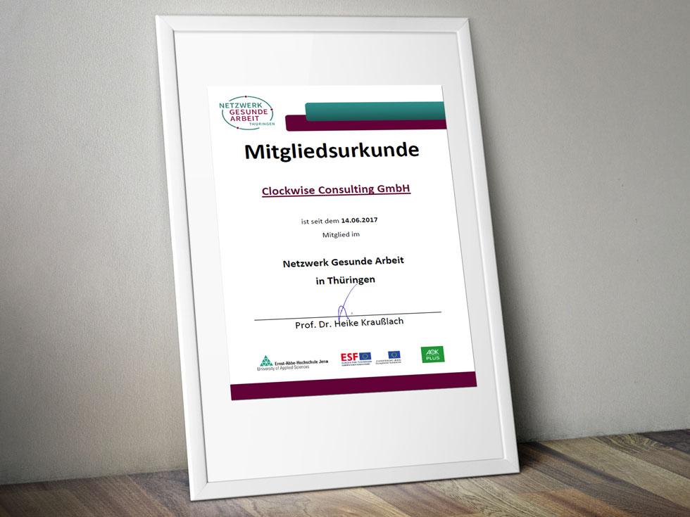 Clockwise Consulting GmbH: Mitgliedsurkunde Netzwerk Gesunde Arbeit Thüringen